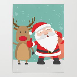 Noel and Deer Enjoying the Christmas Poster