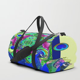 BLUE PEACOCKS & MORNING GLORIES PARALLEL YELLOW PATTERNED ART Duffle Bag