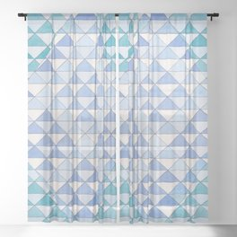 Triangle Pattern No. 9 Shifting Blue and Turquoise Sheer Curtain