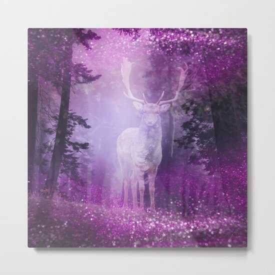 Fairy deer out of the woods mystic pink glitter forrest Metal Print