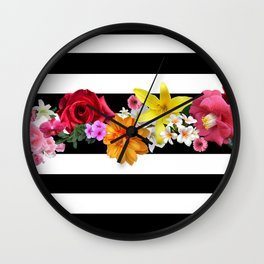 flowers on black and white stripes Wall Clock