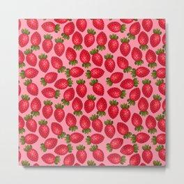 Strawberry Print - Pink BG Metal Print