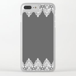 White Vintage Lace Gray Background Clear iPhone Case