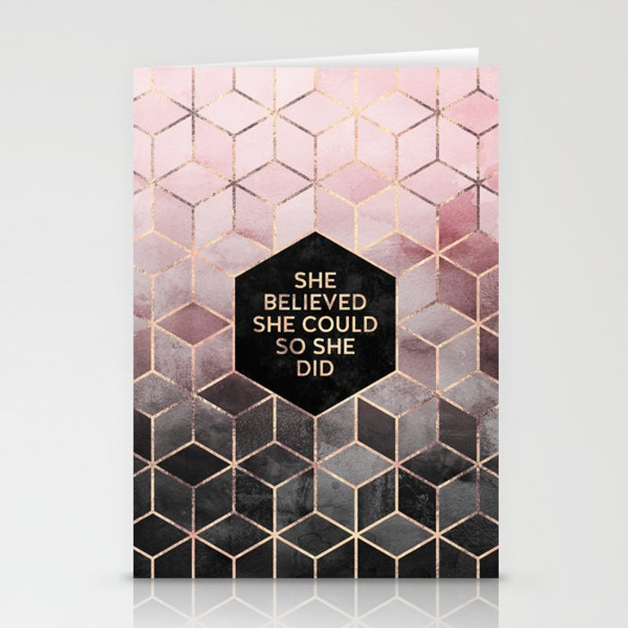 She Believed She Could - Grey Pink Stationery Cards
