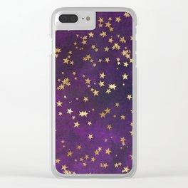 Dark Purple Gold Stars Clear iPhone Case