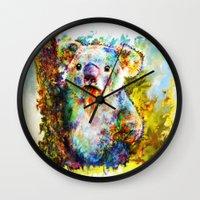 koala Wall Clocks featuring Koala  by ururuty