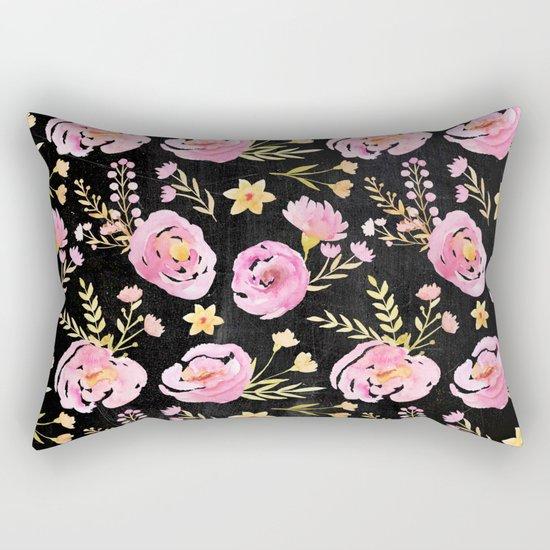 Delicate Poppy Pattern On Chalkboard Rectangular Pillow