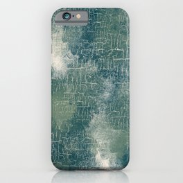 Grunge Abstract Art in Teal, Olive Green and Cream iPhone Case