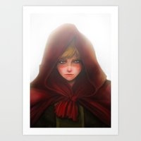 red hood Art Prints featuring Red Hood by D'Frikki