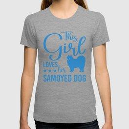 This Girl Loves Her Samoyed Dog wb T-shirt