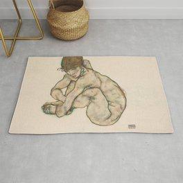 Egon Schiele - Crouching Nude Girl Rug