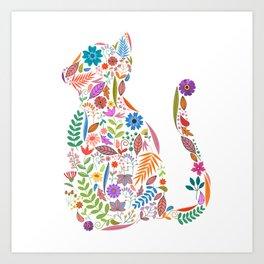 Fancy And Fine Flowered Cat Garden Design Art Print