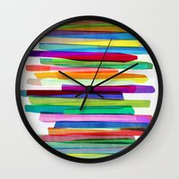 blondie Wall Clocks featuring Colorful Stripes 1 by Mareike Böhmer