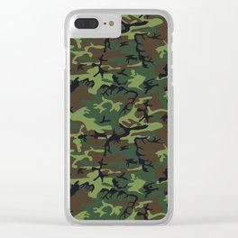 U.S. Woodland Camo Clear iPhone Case