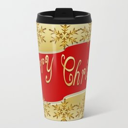 Red Merry Christmas Banner On Gold With Snowflakes  Travel Mug