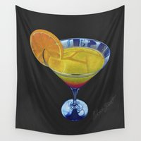 martini Wall Tapestries featuring Sunset Martini by Shawn Stomp