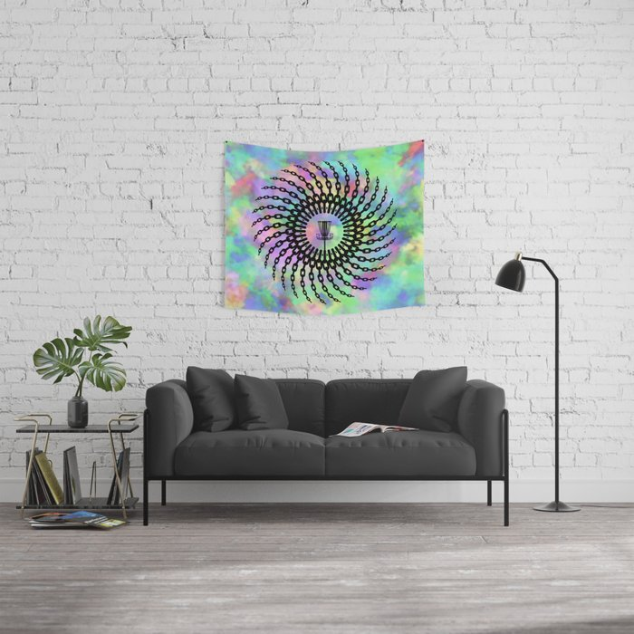 Disc Golf Basket Chains Wall Tapestry