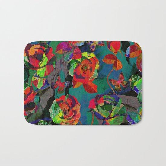 Floral Pattern Textile Bath Mat