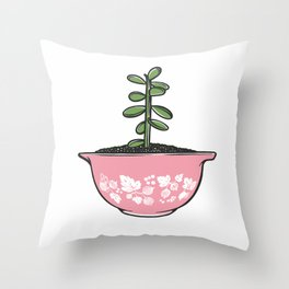 Jade Plant in Pyrex Throw Pillow