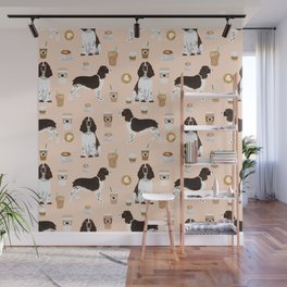 English Springer Spaniel coffee lover dog breed pet portraits custom dog gifts Wall Mural