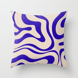 Modern Liquid Swirl Abstract Pattern Square in Cobalt Blue Throw Pillow