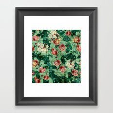 Floral and Marble Texture Framed Art Print