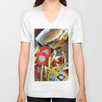 junk food V-neck T-shirts featuring Junk Food by Renatta Maniski-Luke