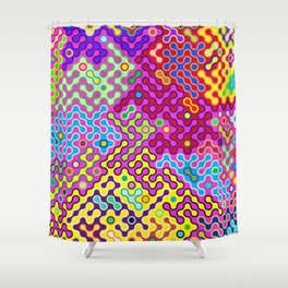 Abstract Psychedelic Pop Art Truchet Tile Pattern Shower Curtain
