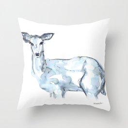 Deer Watercolor Sketch Throw Pillow