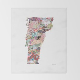 Vermont map Portrait Throw Blanket