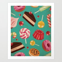 Kitschy and Colorful Candy Pattern on Aqua Art Print