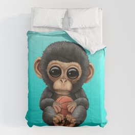 Cute Baby Chimp Playing With Basketball Comforters