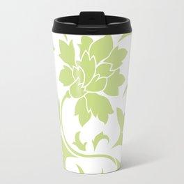 Oriental Flower - Daiquiri Green Circular Pattern On White Background Travel Mug