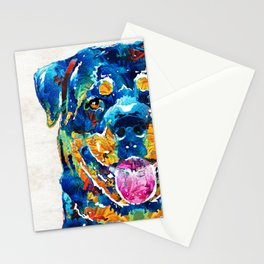 Colorful Rottie Art - Rottweiler by Sharon Cummings Stationery Cards