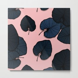 Palm leaves navy Metal Print
