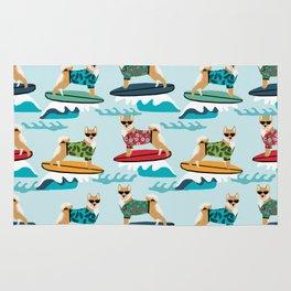 shiba inu surfing dog breed pattern Rug