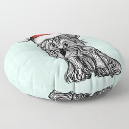Christmas Dog In Santa Clause Hat Floor Pillow