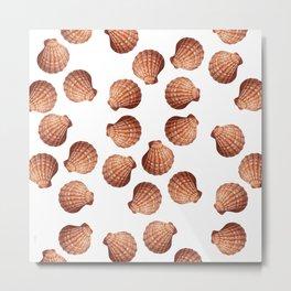 White big Clam pattern Illustration design Metal Print