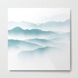 blue minimalist clouds Metal Print