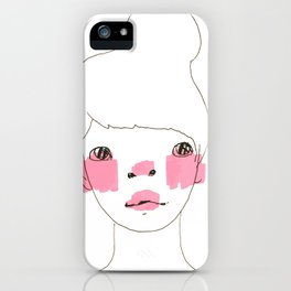 Line Drawing of a Girl in Neon  iPhone Case