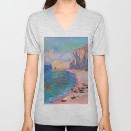 Claude Monet Beach at Etretat Unisex V-Neck
