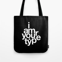 helvetica Tote Bags featuring HELVETICA! by THE USUAL DESIGNERS