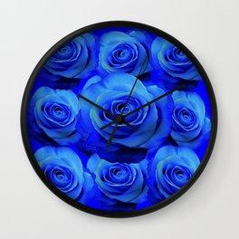 AWESOME BLUE ROSE GARDEN  PATTERN ART DESIGN Wall Clock