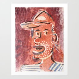You Talk Too Much Cartoon Face Art Print