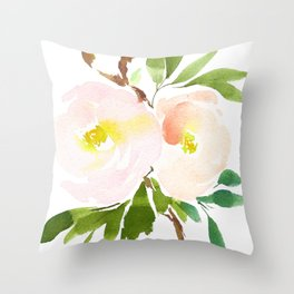 Watercolor Florals - Pink Roses - Blush Flowers by Dear Lily Mae Throw Pillow