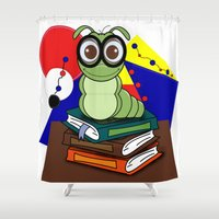 bookworm Shower Curtains featuring Bookworm 2 by Charles Oliver