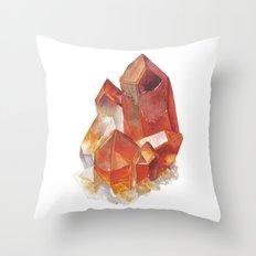 Orange Quartz Cluster Throw Pillow