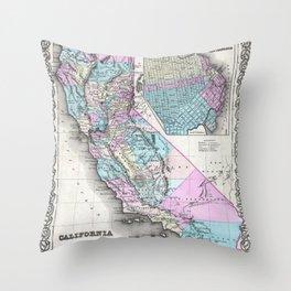 Map of California and San Francisco 1855 Throw Pillow