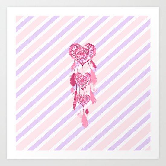 Cute Pink Heart Dreamcatcher Girly Pastel Stripes Art Print