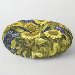 Sunflowers & Blue Irises by Vincent van Gogh Floor Pillow